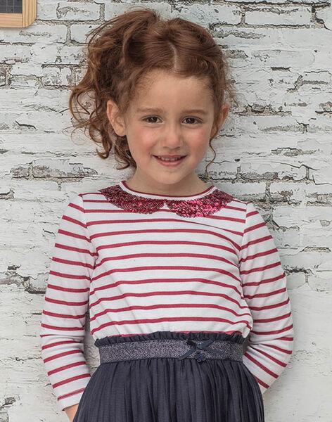 Girl's long-sleeved red sailor T-shirt BROMARETTE2 / 21H2PFB6TML001