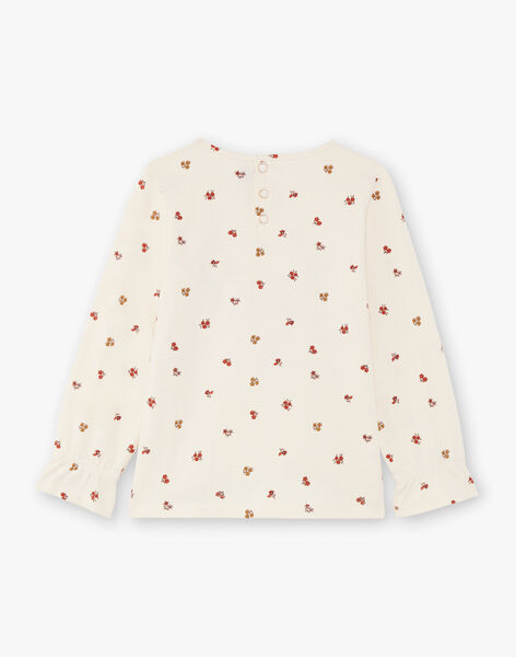 Red and ecru t-shirt flowery print child girl BUTIETTE / 21H2PFJ3TML001