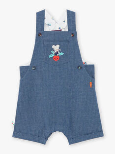 Dark blue short dungarees with checks ZAKANT / 21E1BGJ1SACP270