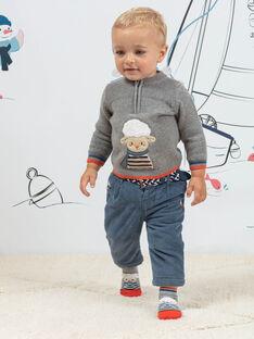 Baby boy's grey knitted sweater with fantasy sheep pattern BANINO / 21H1BGL1PUL943