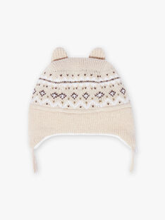 Baby boy's jacquard knitted hat, beige BIRICARD / 21H4BGE3BONA011