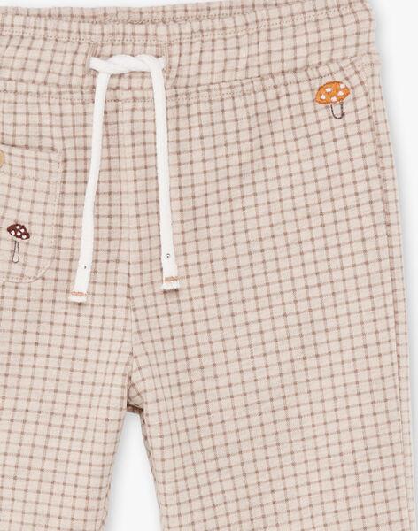 Baby Boy's Brown and Beige Checked Pants BALAUREL / 21H1BGJ1PAN811