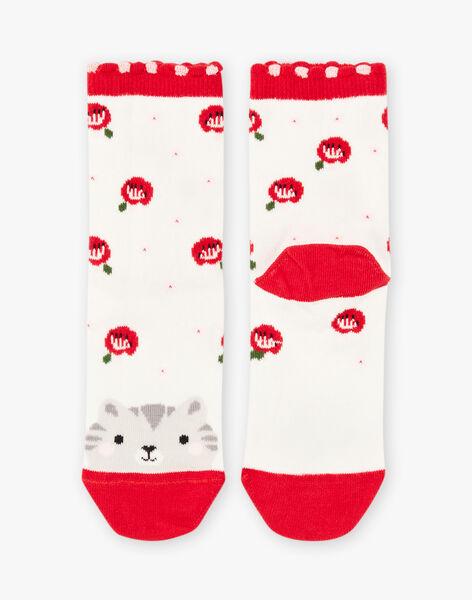 Baby girl's ecru cat and flower socks BASOCETTE / 21H4PF11SOQ001