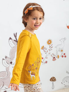 Mustard t-shirt with fawn and flower motifs for girl BUBIZETTE / 21H2PFJ2TMLB106