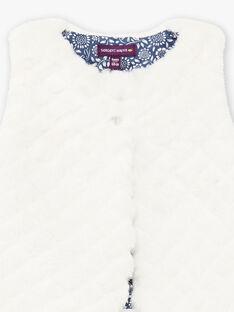 Baby girl's ecru faux fur sleeveless cardigan BAKARINE / 21H1BFL1CSM001