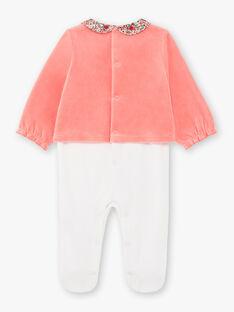 Baby girl's two-tone velvet long sleeve sleep suit BEBULLE / 21H5BF61GRE404