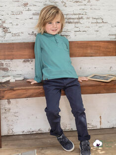Boy's navy blue straight pants with belt BUXIGAGE1 / 21H3PGB3PAN070