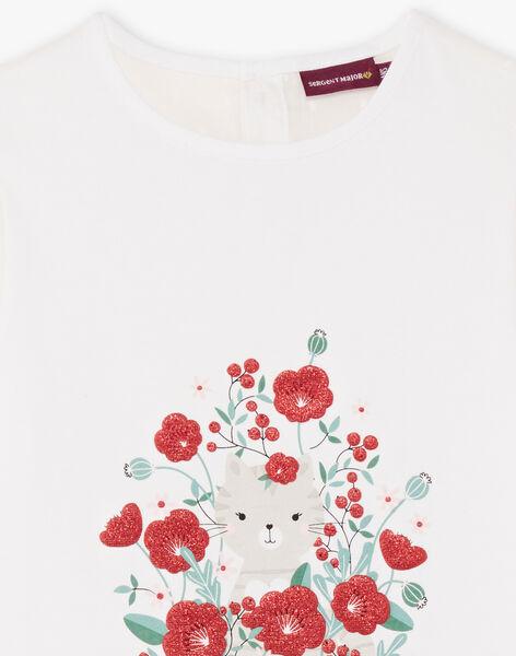 Girl's ecru short-sleeved T-shirt with cat and flower motifs BATELETTE / 21H2PF11TMC001
