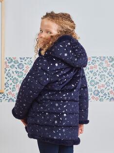 Girl's reversible navy blue faux fur jacket BLODOUETTE2 / 21H2PFE1D3E705