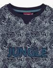 Boy's navy blue jungle sweatshirt BUWAGE1 / 21H3PGB2SWE070