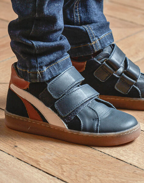 Child boy navy blue sneakers with contrasting details BASKAGE / 21F10PG42D0D070