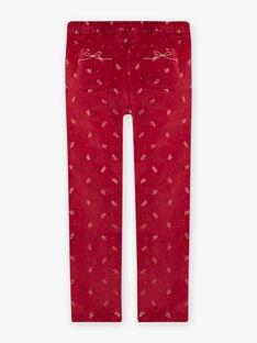Girl's burgundy pants with golden flowers prints BROVELETTE2 / 21H2PFF1PAN503