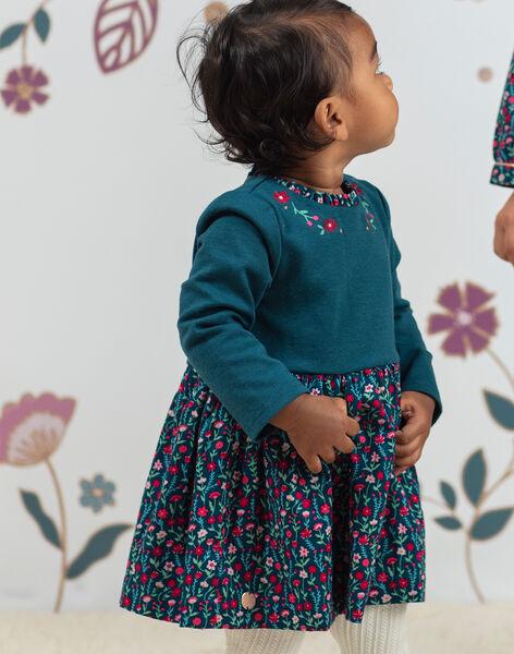 Baby girl duck blue floral print long sleeve dress BAGEORGIE / 21H1BF91ROB714