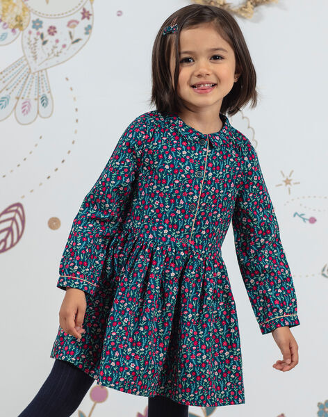 Baby girl's duck blue long sleeve dress with flower print BOSOFETTE / 21H2PF91ROB714