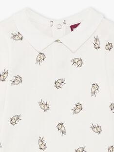 Baby boy's white and grey kitten print bodysuit BADUNCAN / 21H1BG21BOD632