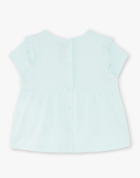 Water green t-shirt in jersey and poplin ZACAROLE / 21E1BFI1TMC629