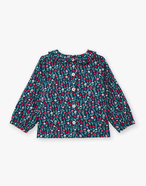 Baby girl's blue floral print long sleeve blouse BAGANIE / 21H1BF91CHE714