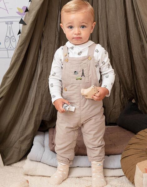 Beige overalls with fancy print baby boy BADARWIN / 21H1BG21SALA013