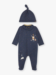 Night blue sleep suit and fleece cap set ZEBERNIE / 21E5BGH2GRE705