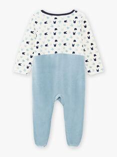 Baby boy two-tone velvet romper with rabbit and plush print BECHARLES / 21H5BG71GREC202