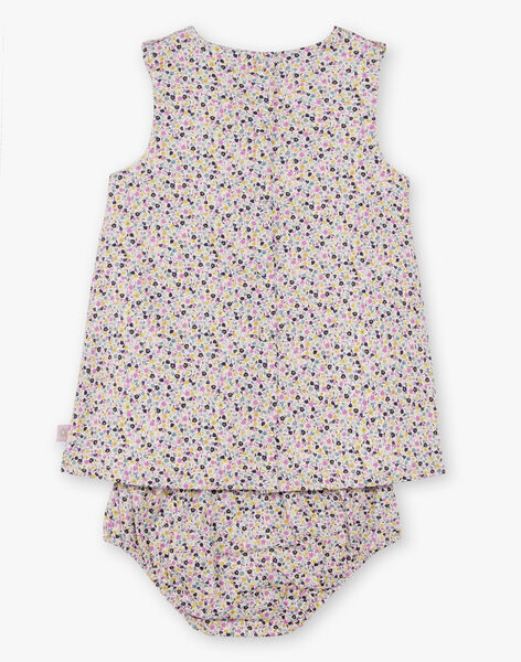Baby girl pink and yellow floral print dress and bloomer BACHRISTIE / 21H1BF21ROB001