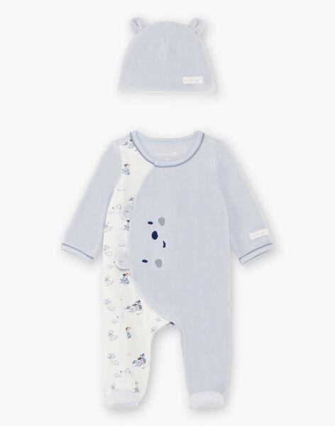 White and light blue neckerchief and hat birth boy BORANE B / 21H0NG41GRE219