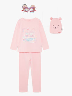 Pink fancy pyjamas with pocket and mask child girl ZEPYGETTE 3 / 21E5PFF1PYTD326