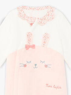 Baby girl's two-tone faux fur romper with rabbit print BEJEANNE / 21H5BF71SPY309