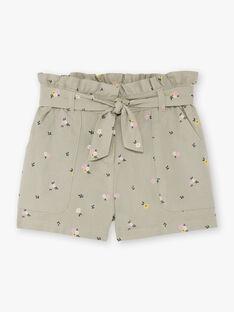 Girl's khaki shorts with floral print BESHORETTE / 21H2PF21SHO604