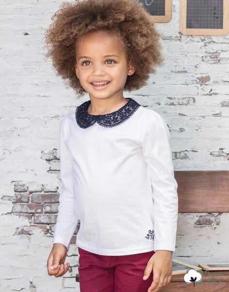 Long sleeve t-shirt ecru with claudine collar for girls BROTOZETTE2 / 21H2PFB4TML001