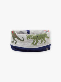 Two-colored snood with dinosaur motif for boys BAFILAGE / 21H4PGD3SNO943