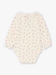 Baby Girl's Red and Ecru Floral and Deer Print Bodysuit BAIGI / 21H1BFJ1BOD001