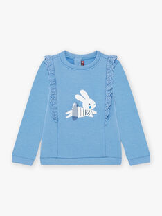 Blue sweatshirt with embroidery details and rabbit motif for girls BYSWETTE / 21H2PFL1SWE221
