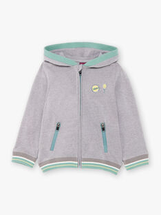 Grey and green hoodie boy boy child ZECOULAGE