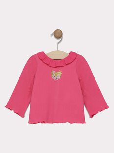 Baby girls' candy rose T-shirt with frill collar SAEMELINE / 19H1BF41BRA305