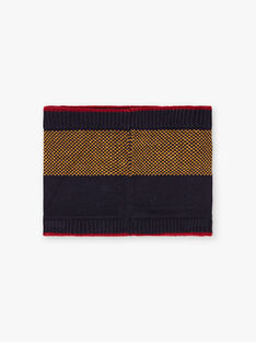 Baby boy navy blue and yellow stripes snood BACOUAGE / 21H4PGC2SNO070