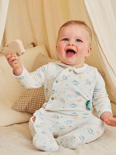 Baby boy shirt collar romper with dinosaur print BECESAR / 21H5BG75GRE001