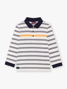 Boy's white and navy blue striped polo shirt BUXAGE1 / 21H3PGB2POL001