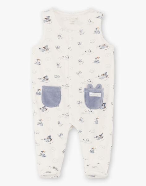 White and blue baby boy sleep suit and vest BOBBY / 21H0NG41ENS216