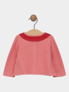 Baby girls' candy rose cardigan with contrasting collar SACLAIRE / 19H1BF31CAR305