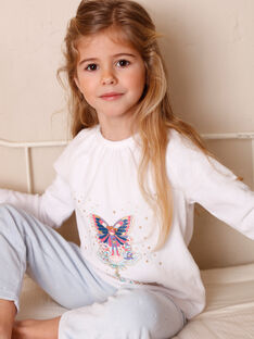 Ecru pyjamas with phosphorescent details for children and girls ZEPRINETTE / 21E5PF13PYJ001
