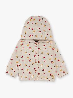 Baby girl beige and red hoodie with flower print BAELISA / 21H1BF51JGHA011
